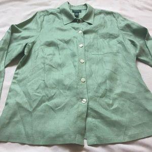 RALPH LAUREN Size 1X 100% LINEN Button Down Shirt